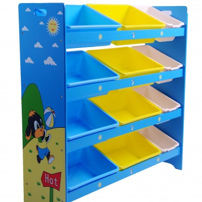 Joybay™ 4 Tier Wooden Toy Organizer Shelf with Removable Storage Bins (Blue Sky)