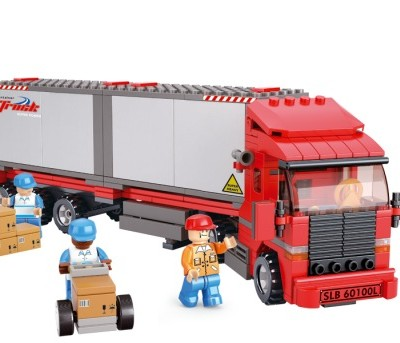 Sluban® City Scene Double Van Freight Truck Lego Compatible Blocks Set (345 pcs)