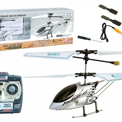 G.T. Model® R/C 3 Channel Gyro Metallic Fuselage Helicopter QS9004 (Silver)