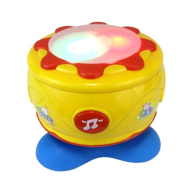 Musical Spinning Baby Hand Drum With 6 Songs and 3 Rhythms (Multicolored)