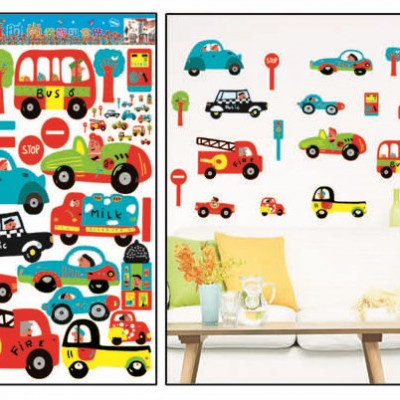 "Room Deco Peel&stick Wall Art Decal 17.5"" * 27.5"" -Cars on the Go"
