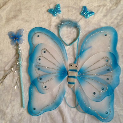 Deluxe Butterfly Clothes Fairy Princess Wings, Wand, Headband Set (% Colors to Choose From) (BLUE)