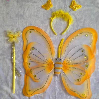 Deluxe Butterfly Clothes Fairy Princess Wings, Wand, Headband Set (% Colors to Choose From) (YELLOW)