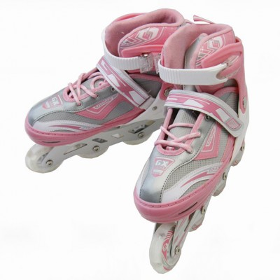 NEW Adjustable Roller Blades Inline Skates Hockey Derby Girl Youth Pink & Gray (large)