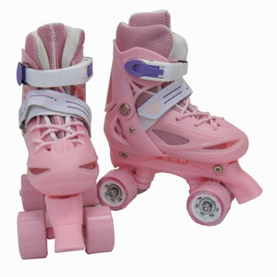 NEW Adjustable Roller Blade Skates Hockey Derby Skating Girls Youth Gray & Pink