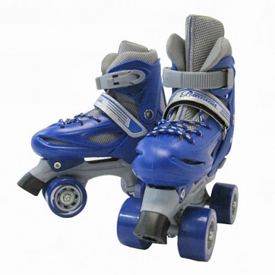 NEW Adjustable Roller Blades Skates Hockey Derby Skating Boys Youth Gray & Blue (Size 2 to 4)