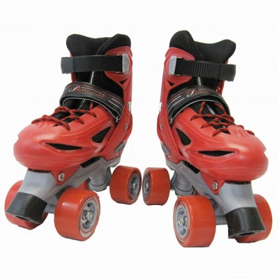 NEW Adjustable Roller Blade Skates Hockey Derby Skating Boys Youth Black & Red (Size 2 to 4)