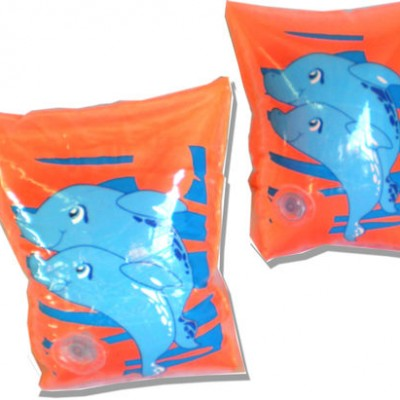 """CHILDREN'S Pair of Little Dolphin 8"""" Inflatable Arm Ring Float ( orange )"""