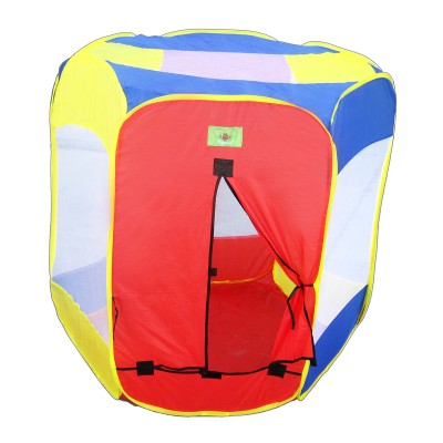 Joybay 6 Sided Hexagonal Polyester Tent for Indoors or Outdoors (Red, Yellow and Blue)
