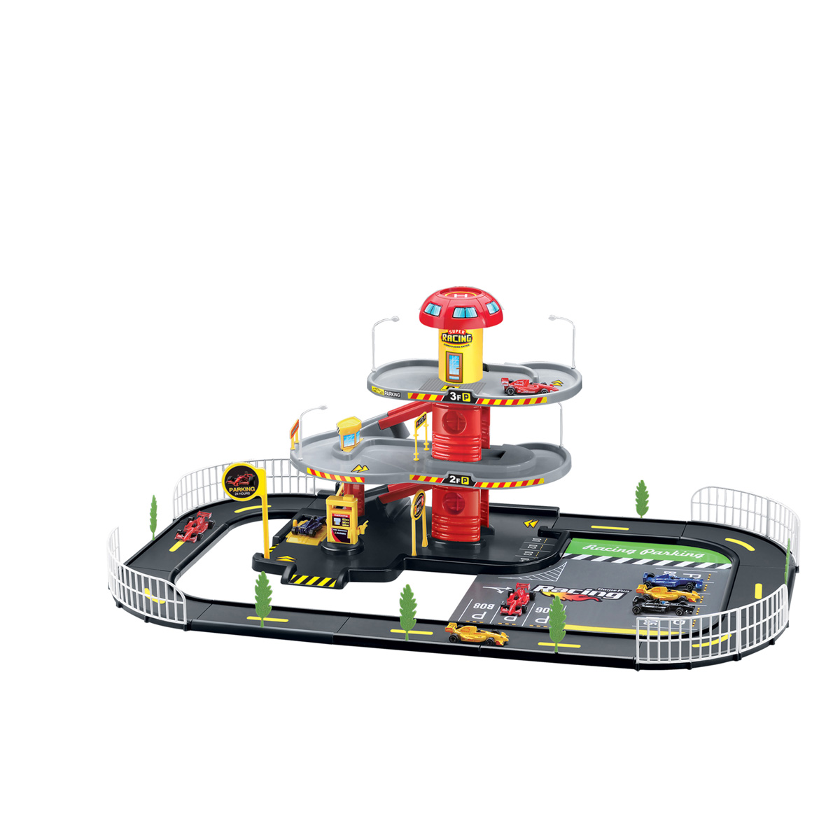 race track playset with 2 level parking garage and 2 racecars black Parking Garage Interior Design race two or more cars along the racetrack then drive up and down the r s through the 2 level parking garage includes 2 racecars traffic signs trees