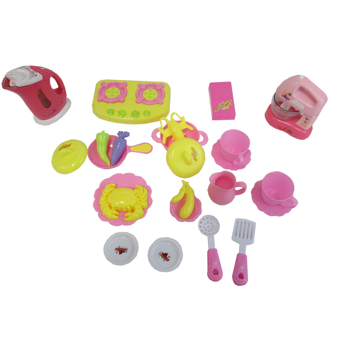 Diy Kids 21 Pcs Deluxe Play Set Commodity Kitchen Play Set With